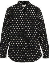 Saint Laurent Polka-dot Crepe De Chine Shirt - Black