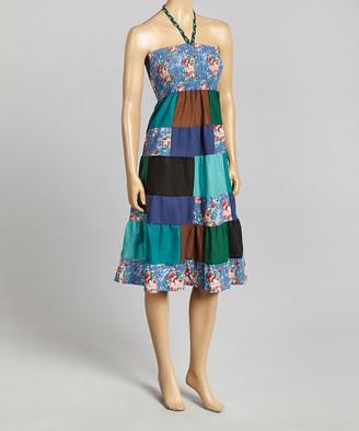 Pretty Angel Women's Maxi Skirts BLUE/AQUA(BL/AQ) - Blue Patchwork Linen-Blend Convertible Dress - Women
