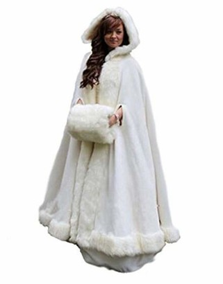Meibida Winter Bridal Wedding Cloak Cape Hooded Faux Fur Cloak Winter Warm Jacket (White)