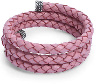 American West Pink Braided Leather Wrap Bracelet in Sterling Silver