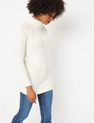 George Cream Cable Knit Cowl Neck Tunic Jumper Dress