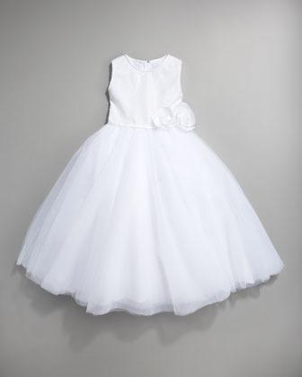 Joan Calabrese Sequin Tulle-Skirt Dress, White, Size 2-10