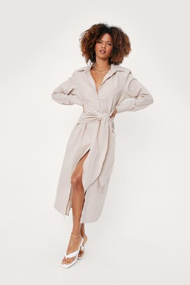 Nasty Gal Womens Linen Look Tie Front Midi Shirt Dress - Beige - 4