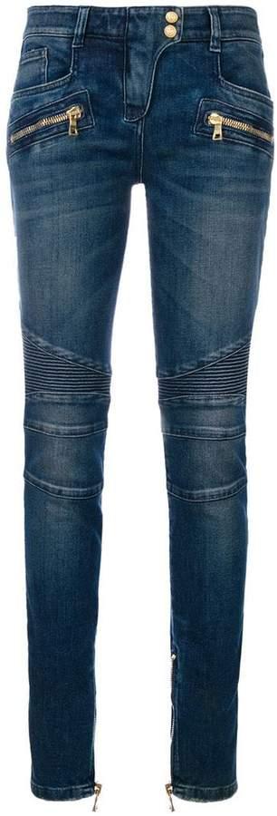Balmain stonewashed denim biker jeans