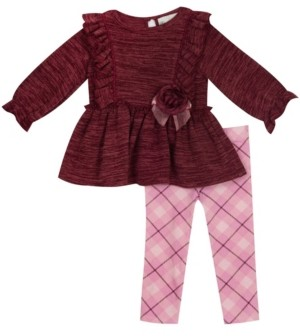Rare Editions Baby Girls Knit Long Sleeve Set with Plaid Knit Legging