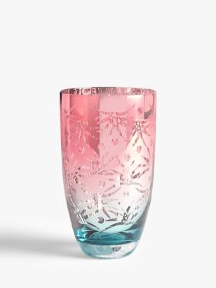 John Lewis & Partners Exotic Leaf Print Highball Glass, 500ml, Pink/Blue
