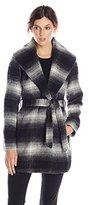 Jessica Simpson Women's Mohair Wool Plaid Wrap Coat