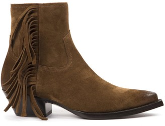 Saint Laurent Lukas Ankle Boots In Camel Suede