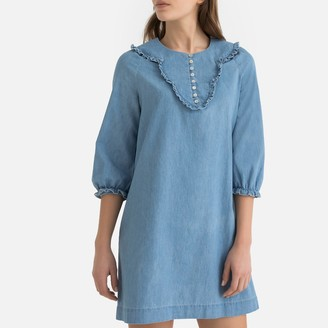 La Redoute Collections Ruffled Buttoned Denim Shift Dress