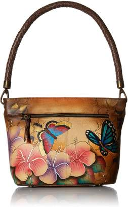 Anuschka Anna By Anna by Women's Genuine Leather Large Hobo Shoulder bag | Hand Painted Original Artwork | Zip-Top Organizer | Animal Hibiscus