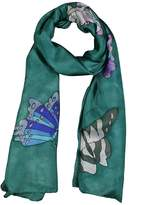 Invisible World Women's 100% Silk Hand Painted Scarf Butterflies Celadon