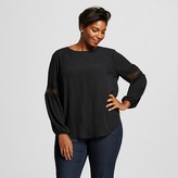 Women's Plus Size Bishop Sleeve Top with Lace Detail - Ava & Viv