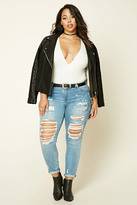 Forever 21 FOREVER 21+ Plus Size Mid-Rise Short Jeans