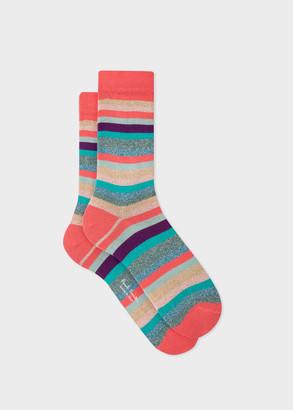 Paul Smith Women's Multi-Colour Glitter 'Swirl Stripe' Socks