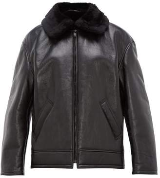 Balenciaga Faux Shearling Lined Leather Aviator Jacket - Womens - Black