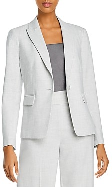 Rebecca Taylor Tailored Long-Sleeve One-Button Blazer