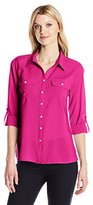 Notations Women's Solid 3/4 Roll Tab Y Neck Utility Blouse