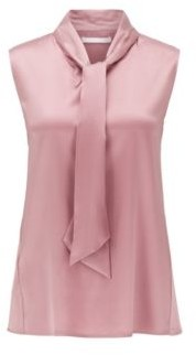 BOSS Sleeveless top in stretch silk with tie neck