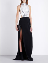 Thierry Mugler Sequin-embellished crepe gown