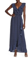 Ash Max & Polka Dot Ruffle Maxi Dress