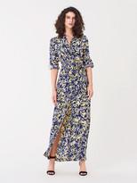 Diane von Furstenberg Amina Silk Crepe de Chine Maxi Shirt Dress