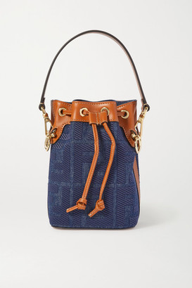 Fendi Mon Tresor Mini Leather-trimmed Denim Bucket Bag - Blue