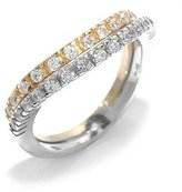 Tatitoto Wedding Women's Ring in 18k Gold with White Cubic Zirconia, Size 5.5, 6.6 Grams