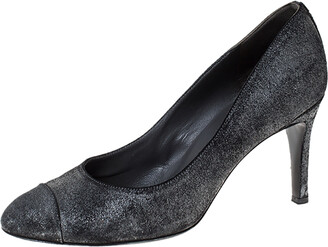 Chanel Metallic Distressed Textured Suede CC Cap Toe Pumps Size 40.5