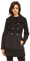 GUESS Double Breasted Funnel-Collar Military Wool Coat