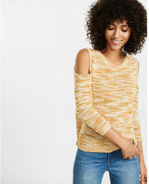 Express space dyed boxy cold shoulder sweater