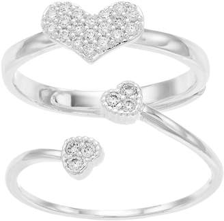 Sisters Cubic Zirconia Heart Ring Set