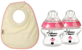 Tommee Tippee Pink Closer to Nature Bottle & Bib Set