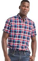 Gap Oxford plaid short sleeve standard fit shirt