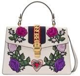 Gucci Medium Sylvie Floral Patch Top Handle Leather Shoulder Bag