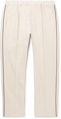 Gucci Slim-Fit Cropped Piped Cotton-Pique Drawstring Trousers - Men - Neutrals