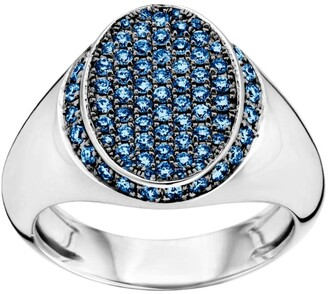 Bare Fine White Gold and Blue Sapphire SIGNET Classic Ring