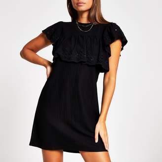 River Island Womens Black broderie frill mini T-shirt dress