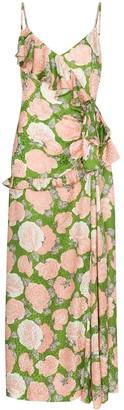Miu Miu Floral Print Ruffled Maxi Dress