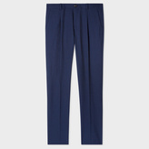 Men's Slim-Fit Navy Muted-Check Cotton And Wool-Blend Pleated Trousers