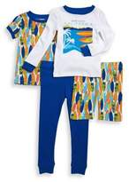 Body Glove Little Boy's Four-Piece Beach Motif Cotton Pajama Set