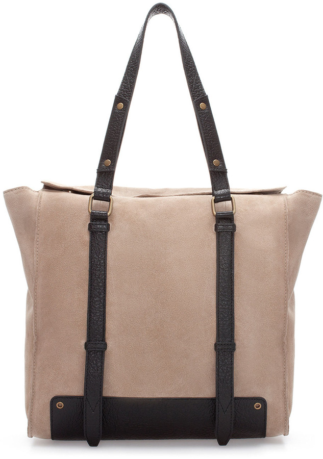 Zara Combined Leather And Suede Shopper