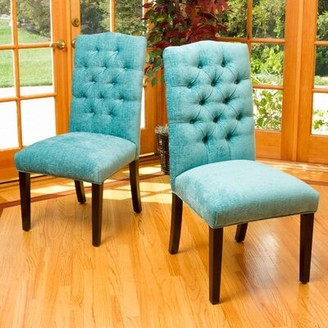 Latitude Run Alexis Upholstered Side Chair in Dark Brown Upholstery Color: Teal Green
