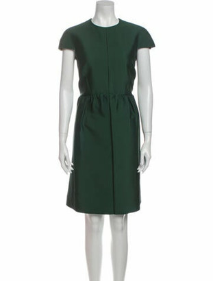 Celine Crew Neck Knee-Length Dress Green