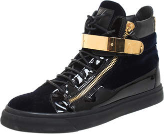 Giuseppe Zanotti Black/Navy Blue Velvet and Patent Leather Coby High Top Sneakers Size 44