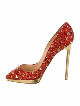 Christian Louboutin Strass Spike Pointed-Toe Pumps Red