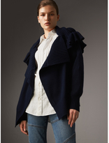 Burberry Ruffle Detail Wool Cashmere Cardigan
