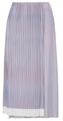 HUGO BOSS A Line Skirt With Plisse Pleats And Color Block Hem - Patterned
