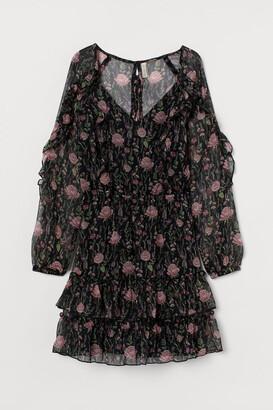H&M Flounced Chiffon Dress - Black