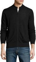 Neiman Marcus Wool Crewneck Zip-Front Jacket, Black