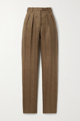 Giuliva Heritage Collection + Net Sustain The Husband Checked Herringbone Wool Slim-leg Pants - Brown